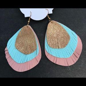 Earrings. 3 layer teardrop with fringe